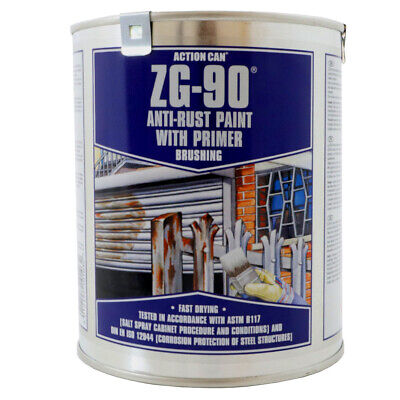 Action Can ZG-90 Silver Zinc Galv Anti Rust Fast Drying Paint 900ml Larger Tin
