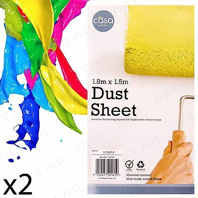 2 x LARGE WHITE FABRIC DUST SHEET Protective Drop Cloth For Painting/Decorating