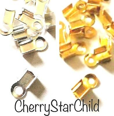 10 x gold silver pl cord ribbon leather crimp ends clasp findings 8x3mm MEDIUM