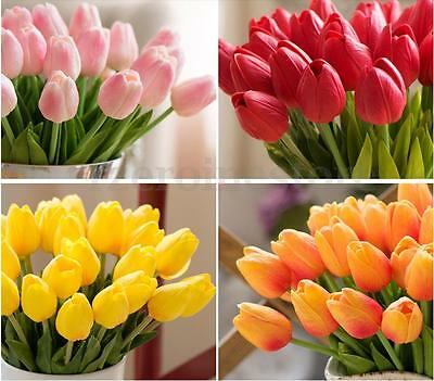10pcs 35cm Fake Artificial Tulip Flowers Leaves for Wedding Home Office Decor