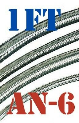 """-6 AN 3/8"""" Braided Stainless Steel PTFE TEFLON Fuel Line Hose 1 FT USA Stocked"""