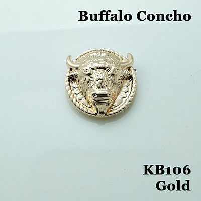 "【KB106】1"" Western Buffalo Head Conchos Leathercraft Hardware Gold"