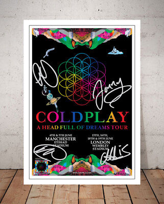 Coldplay A Head Full Of Dreams 2016 London Concert Flyer Autographed Print