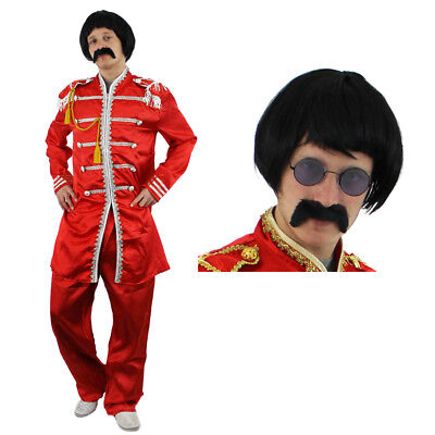 Red Sergeant Pepper Costume With Wig Tash Glasses 1960S Rock Band Fancy Dress