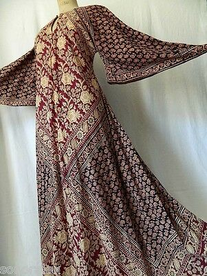 Vintage 1970's indian robe indienne festival boho ethnic maxi dress caftan 44