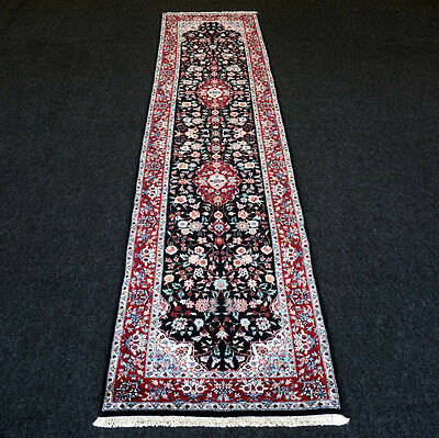 Orient Teppich China Seide 300 x 76 cm Läufer Schwarz Silk Carpet Rug Runner