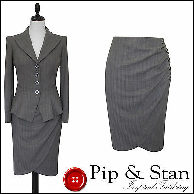 Next Uk12 Us8 Grey Pencil Skirt Suit 1950 50S Inspired Womens Ladies Woman Size