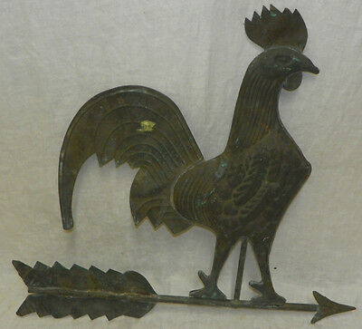 "Vintage Old Copper Large 24"" Rooster Weathervane Antique"