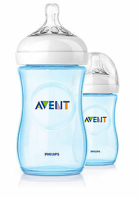 PHILIPS AVENT NATURAL FEEDING BOTTLE DOUBLE PACK 2 X 260ml 9oz SCF695/27 Blue