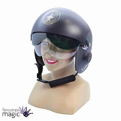 Mens Adult Fancy Dress Military Air Force Jet Pilot Top Gun Helmet 1980s Costume