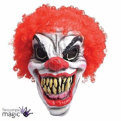 Mens Scary Evil Horror Pennywise Clown Foam Halloween Costume Mask With Red Wig