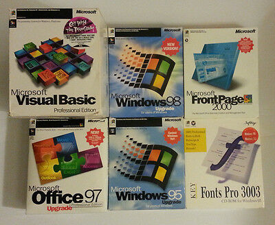 1990's Microsoft Lot, Office 97, Windows 95 & 98, FrontPage 2000, Visual Basic 4