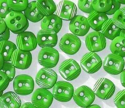 Lot 50 GREEN  New SQUARE Set Fancy Small Buttons