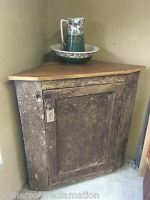 Reclaimed Old Rustic Pine Corner Cupboard 4ft