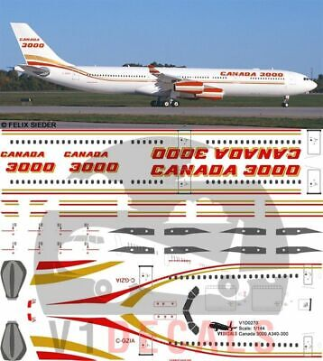 1/144 Canada 3000 Airbus A340-300 Decals for Revell model