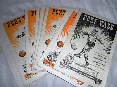 PORT VALE HOME PROGRAMMES FROM THE 1950s - CHOOSE FROM LIST