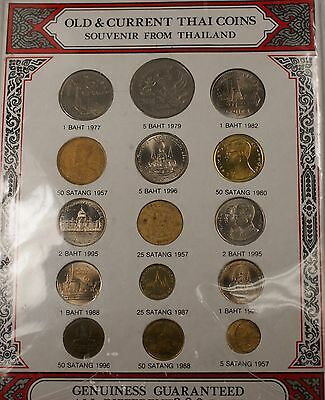 1957-1977 Old and Current 15 Thailand Coins All Different 200 Baht Mixed Set