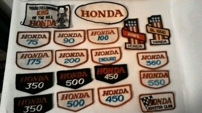 Nos 1970 Honda Embroidered Patches Gold Wing Hawk Cb500 Cb450 Cb550