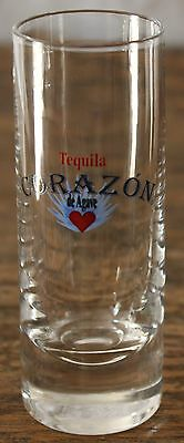 """ONE-Corazon Tequila 3 7/8"""" tall shot glass blue de agave; heavy base (1)"""