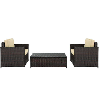 Crosley KO70004BR 3-Piece Palm Harbor Outdoor Wicker Set w/ Chairs and Table