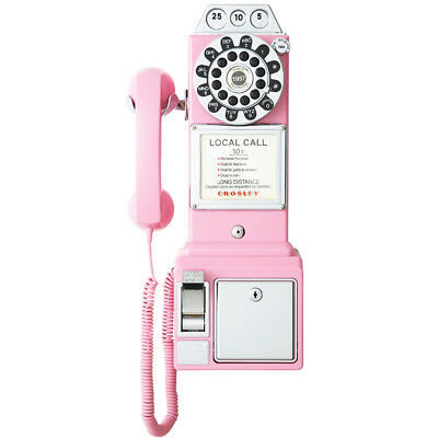 Crosley CR56-PI 1950's Style Push Button Technology Payphone - Pink