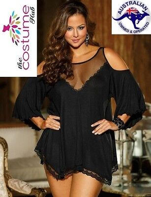 Black Plus Size Lingerie Night Dress M-7Xl