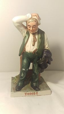 "Handpainted Kroman Tuborg Thirsty Man Figurine - Danish Figurine 9 1/2"" Tall"