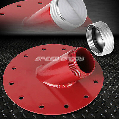 "Fuel Cell Gas Tank 45° Degree 1.5"" Remote Fast Fill 2.75"" Filler Neck+Cap Red"