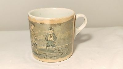 SUPER RARE 19th Century ENGLISH? Peg - Top Orange Lustre Child's Cup / Mug