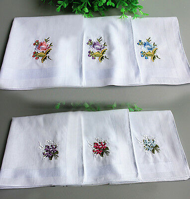 Ladies 100% Cotton Handkerchiefs White Flora Hanky