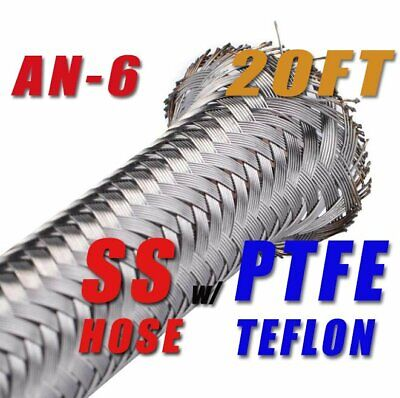"3/8"" STAINLESS STEEL BRAIDED  PTFE Teflon AN6 6-AN OIL FUEL LINE HOSE 20FT"