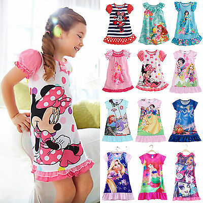 2016 Girls Kids Cartoon Mini Dress Nightdress Princess&Minnie Nightwear Pyjamas