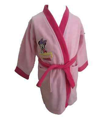OFFICIAL DISNEY MINNIE MOUSE Girls Pink Fleece Dressing Gown Robe 1 2 3 4 5 Yrs