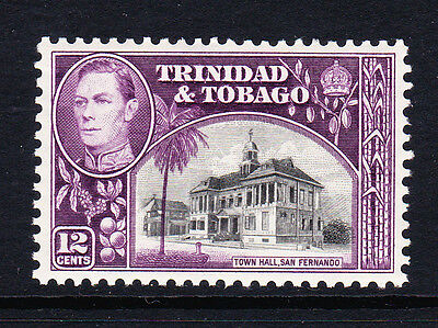 TRINIDAD & TOBAGO 1938-44 12c BLACK & PURPLE SG 252 MNH.