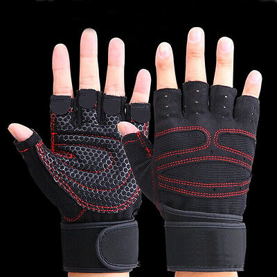 Weightlifting Gym Gloves Training Fitness Workout Wrist Wrap Sports Exercise