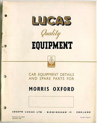Lucas MORRIS OXFORD Electrics - Car Equipment & Spare Parts - Dec 1949 - CE454