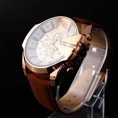 New Rose Gold Stainless Steel V6 Mens Leather Watch Analog Sport Military Watch