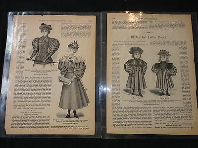 Two Delineator 1885 Antique Fashion Magazine laminated Pages