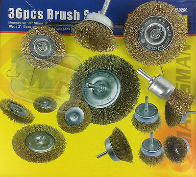 36pc drill bit brush set tempered crimped steel wire wheel flat + cup brushes