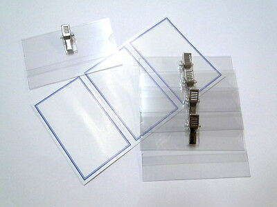 Clip On Badges Security Id Card Pass Name Holder Clear Metal 8 Pack 90mm X 55mm