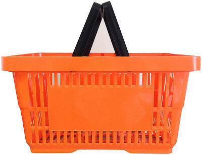 2 Handle Orange Plastic Shopping Basket Retail Supermarket Use Hand Carry