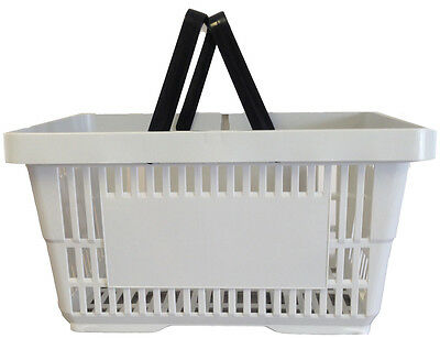 2 Handle Grey Plastic Shopping Basket Retail Supermarket Use Hand Carry