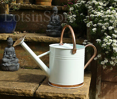 Quality metal watering can holds 2 gallons (9 litres ) galvanised steel cream