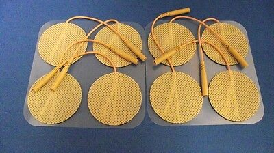 8 Replacement Electrode Pads for Massagers /Tens Units 2 inch Round Tan Cloth