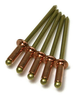 "Copper Blind POP Rivet - 4-4 #44, Brass Mandrel 1/8"" (0.188 - 0.250) Qty-100"