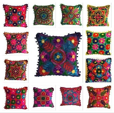 Indian Suzani Ethnic Vintage Cushion Cover Covers Embroidery Mirror pompom 16x16