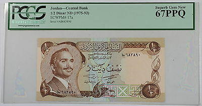 (1975-92) Jordan Central Bank 1/2 Dinar Note SCWPM# 17a PCGS 67 PPQ Superb Gem