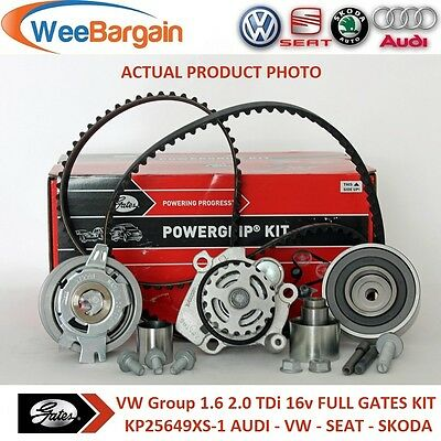 VW Group 1.6 2.0 TDI 16v Engines GATES KP25649XS-1 Timing Belt Kit & Water Pump
