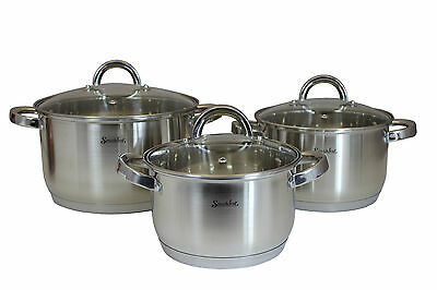 SMAKFEST 6 PC Stainless Steel Cookware Set Pots Casserole Induction Compatible