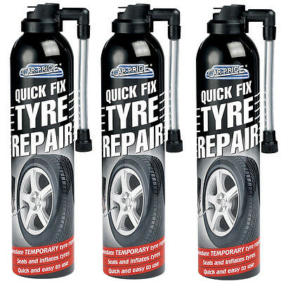 3 x 300ml Quick Fix Tyre Emergency Temporary Puncture Sealant Wheel Repair Car